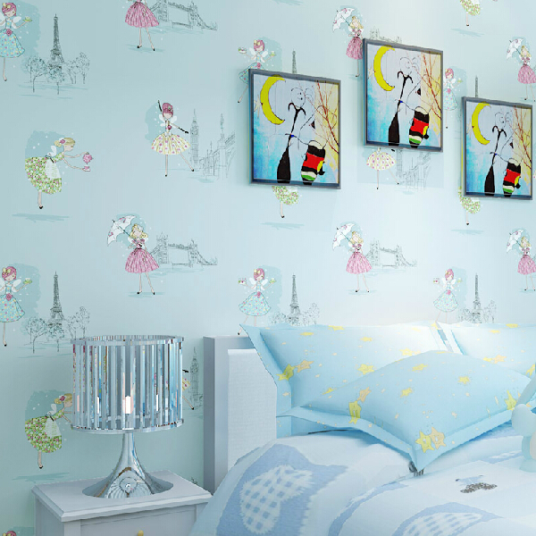 kids children girl room 3d wallpaper non-woven