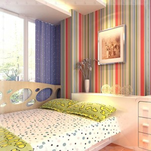 modern multicolor stripe PVC kids wallpaper