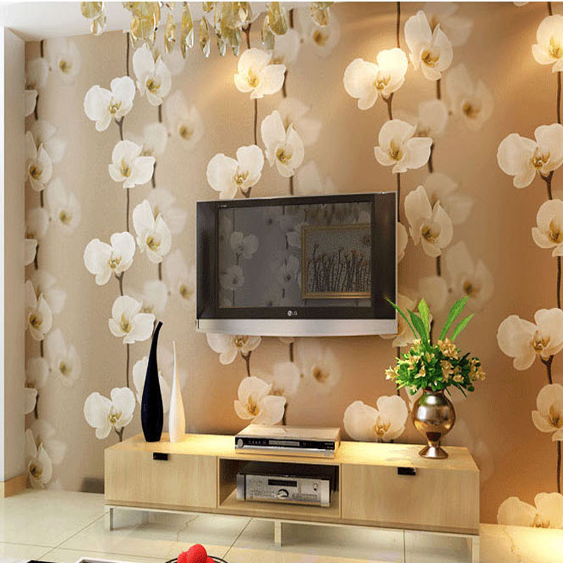 3d Pvc Wallpapers Flower For Background Bedroom